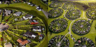 Dwa zdjęcia przedstawiające widok z lotu ptaka na okrągłe osiedla