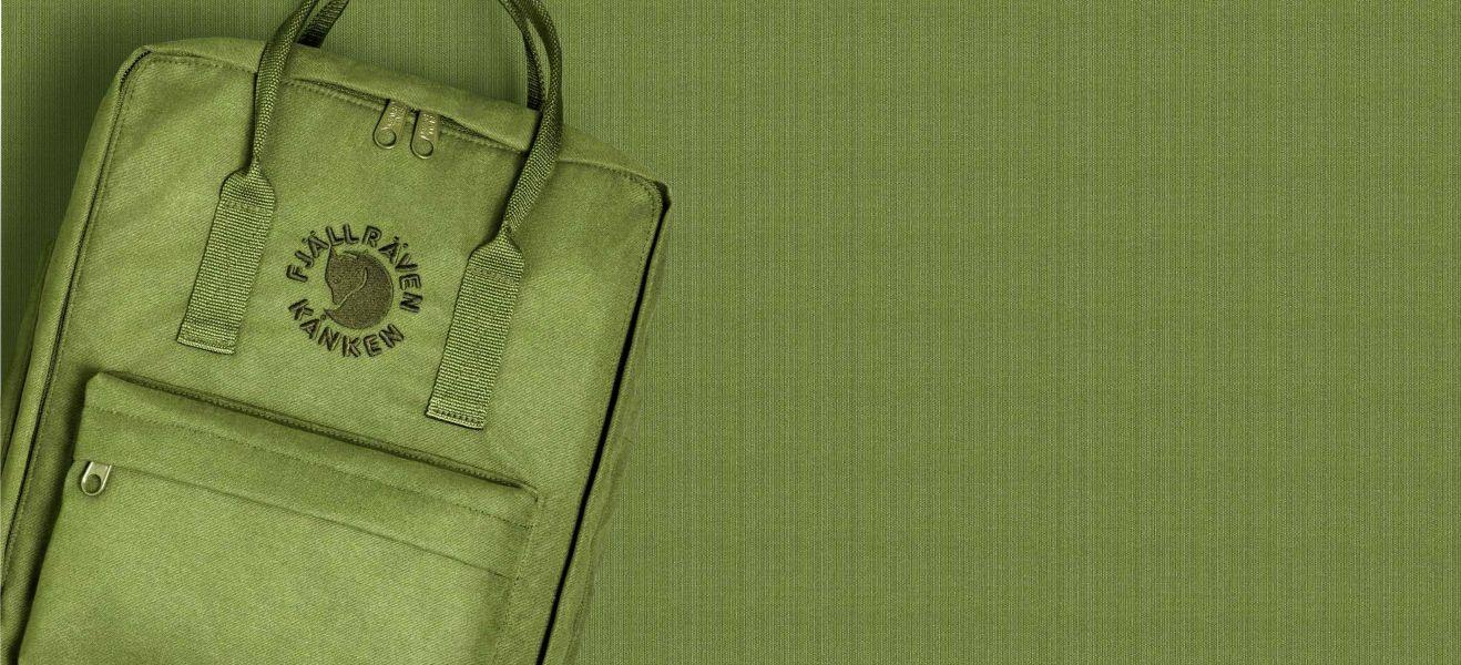 Zielony plecak na zielonym tle