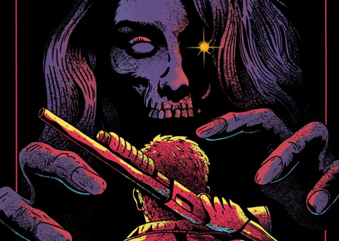 Grafika przedstawiająca kobietę-szkielet i mężczyznę odwróconego tyłem