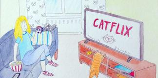 Rysunek przedstawiający kobietę i kota w salonie przed telewizorem