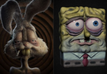Dwie smutne postaci z kreskówek