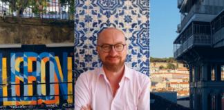 Dwa zdjęcie przedstawiające Lizbonę i zdjęcie mężczyzny po środku