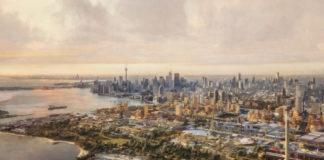 Wizualizacja przedstawiająca miasto przyszlosci