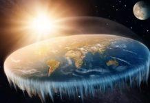 Schemat przedstawiający wyobrażenie płaskiej Ziemii