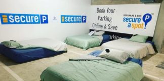 Łóżka na podziemnym parkingu