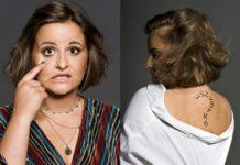 Dwa zdjęcia dziewczyny: na lewym trzyma palec na oku, na prawym jest odwrócona plecami