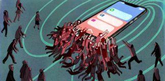 Grafika przedstawiająca ludzi lgnących do ogromnego telefonu, symboliczne przedstawienie uzależnienia od telefonu