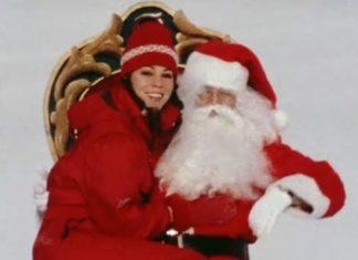 Święty Mikołaj i kobieta w czerwonym stroju