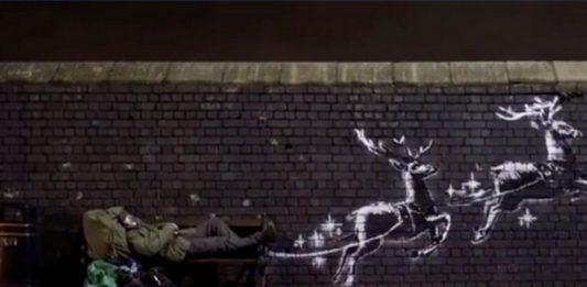 Mural na ceglanej ścianie