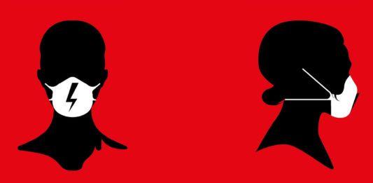 Plakat Strajku Kobiet przedstawia kobiecą głowę w masce z błyskawicą.