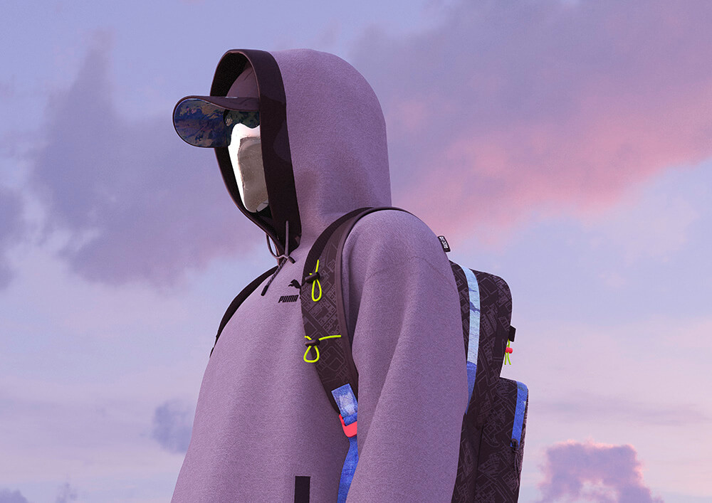 Wirtualny model w bluzie z kapturem i z plecakiem