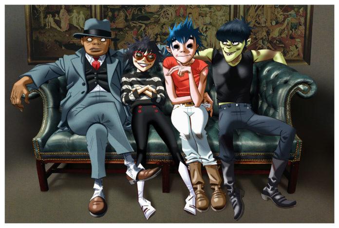 Kreskówkowe avatary zespołu Gorillaz siedzące na kanapie