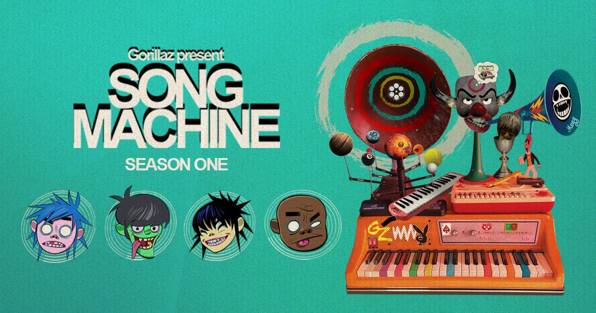 Grafika reklamująca projekt Gorillaz Song Machine. Na błękitnym tle twarze awatarów zespołu, z prawej maszyna do tworzenia muzyki