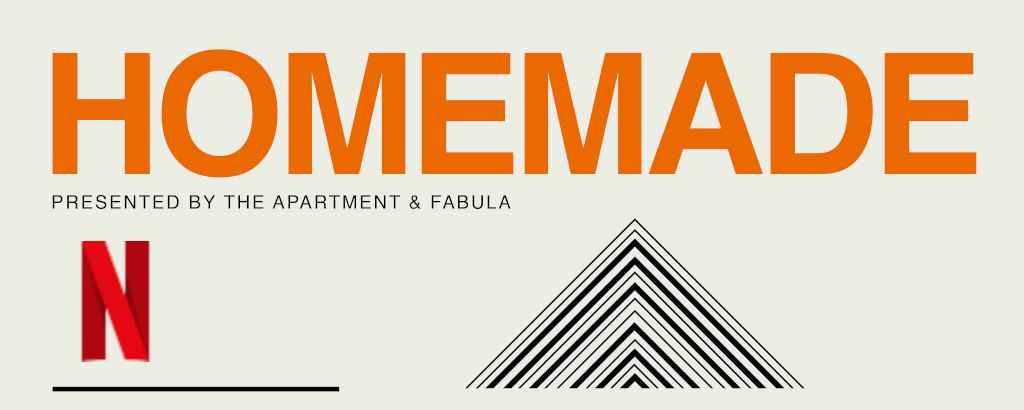 Plakat promujący produkcjęHomemade. Pomarańczowy napis na szarym tle.