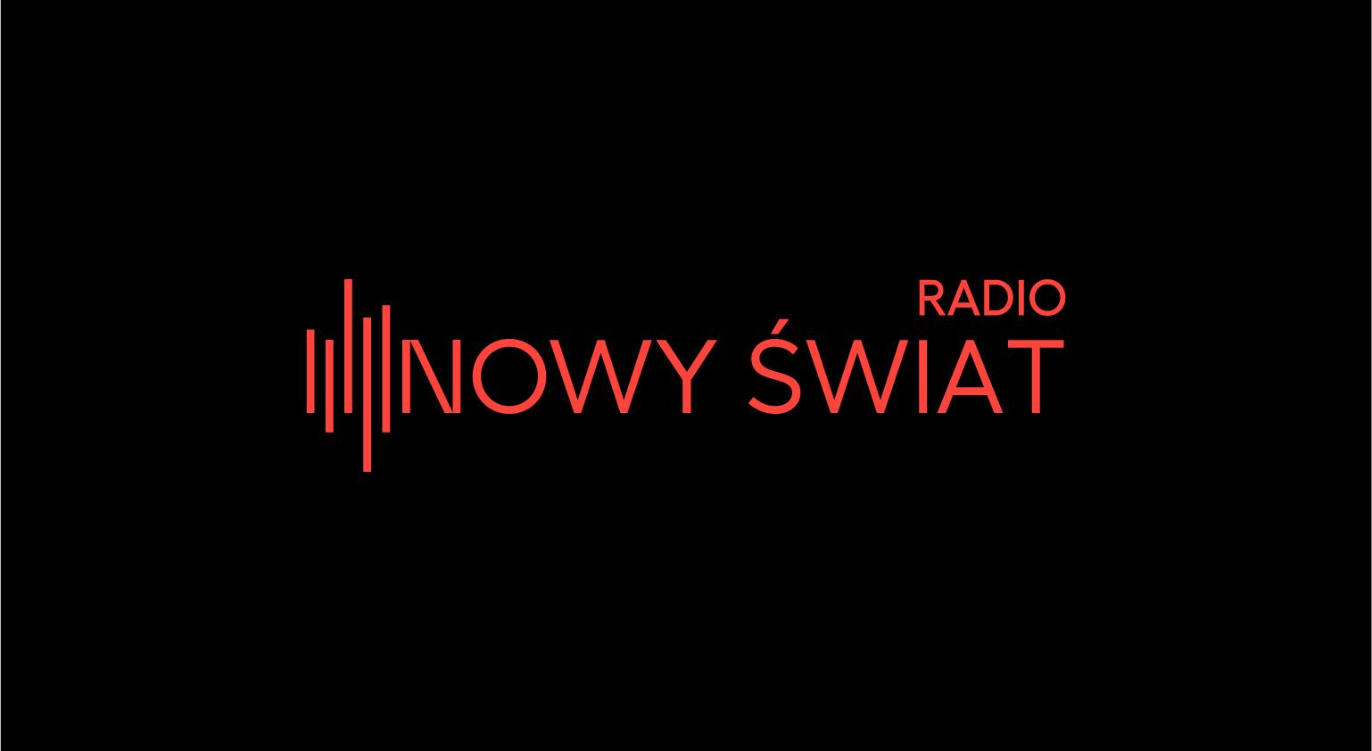 Logo Radia Nowy Świat. Czerwony napis na czarnym tle.