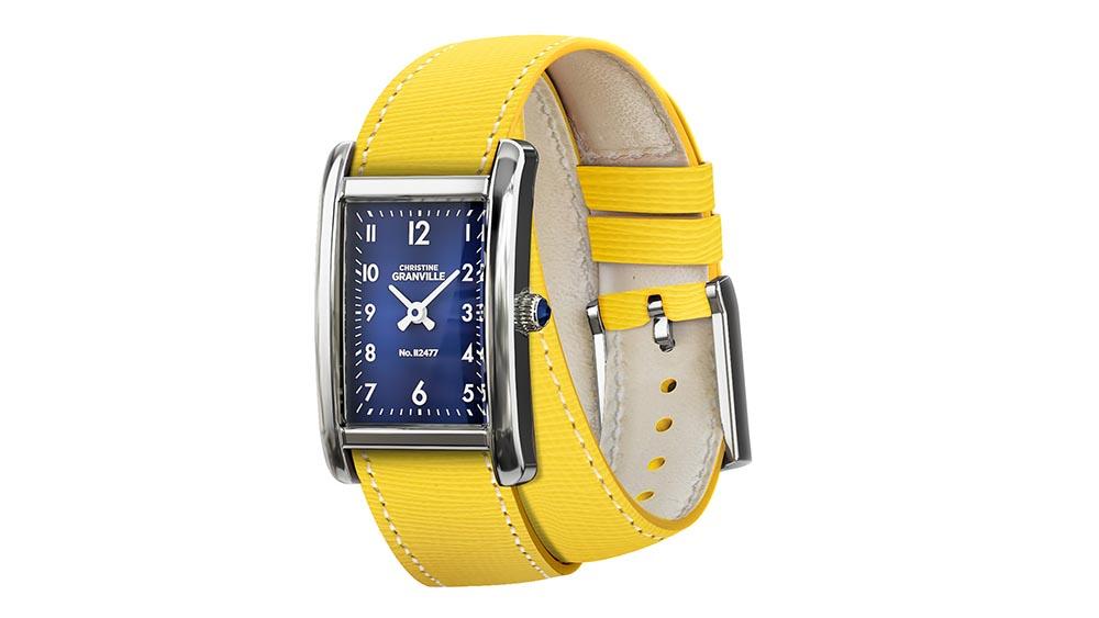 Żółte zegarki z paskiem z wegańskiej skóry