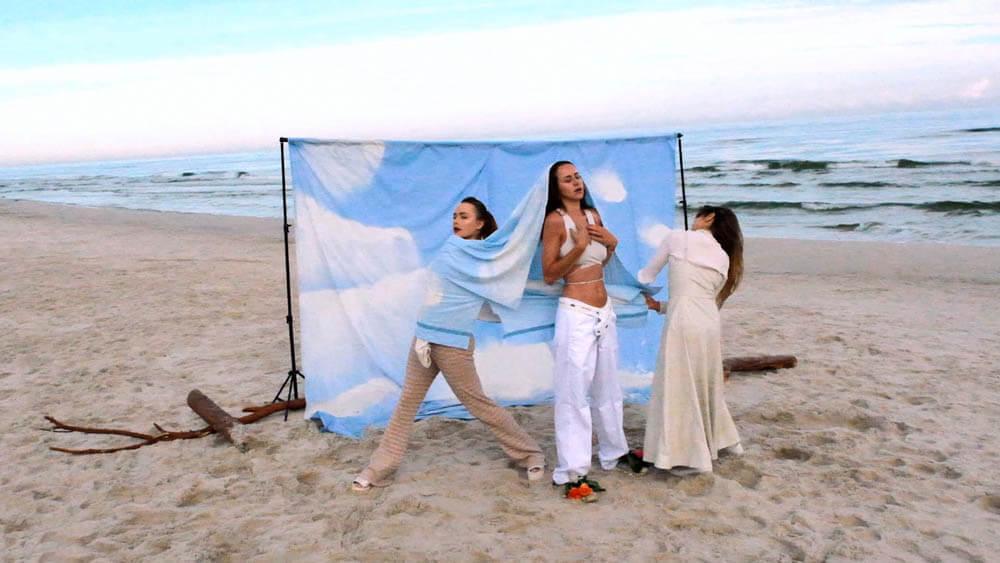 LASS dziewczyny na plaży tło fotograficzne
