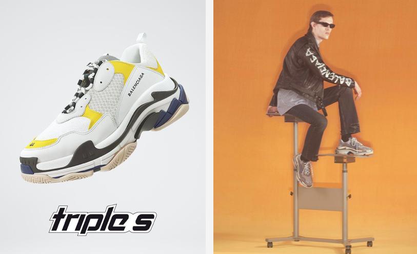 Dwa zdjęcia po prawej widzimy modela siedzącego na biurku na kolkach, a po lewej buta