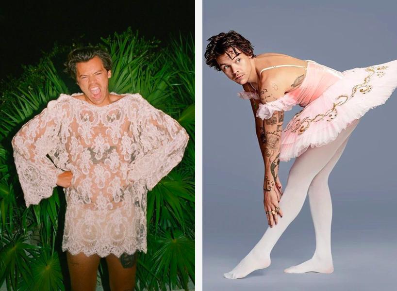 Dwa zdjęcia na lewym chłopak ubrany jest w koronkowa sukienki na tle zieleni, na prawym jest chłopak ubrany w rajstopy i sukienki baletowa na tle fotograficznym