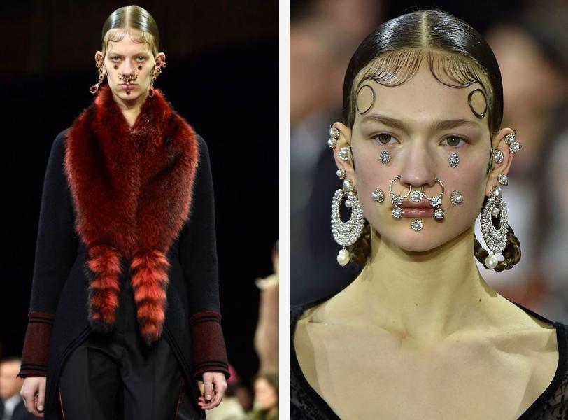 Dwa zdjęcia na prawym portret modelki której cala twarz jest w biżuteria na drugim modelka ubrana na czarno z czerwonym szalem