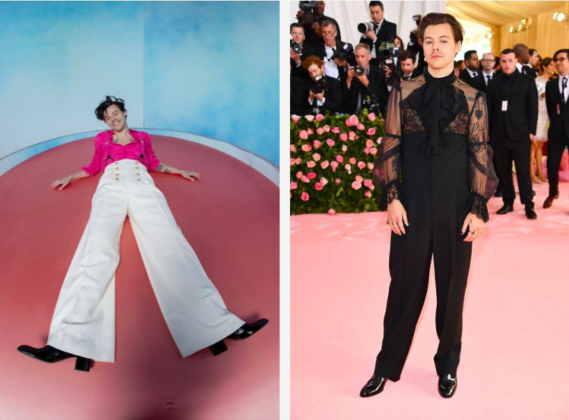 Dwa zdjęcia po lewej stronie chłopak w białych szerokich spodniach i różowej koszuli a po prawej chłopak ubrany na czarno na czerwonym dywanie