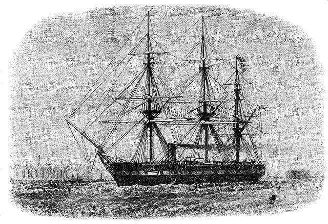 """Szkic przedstawiający żaglowiec HMS """"Challenger"""""""
