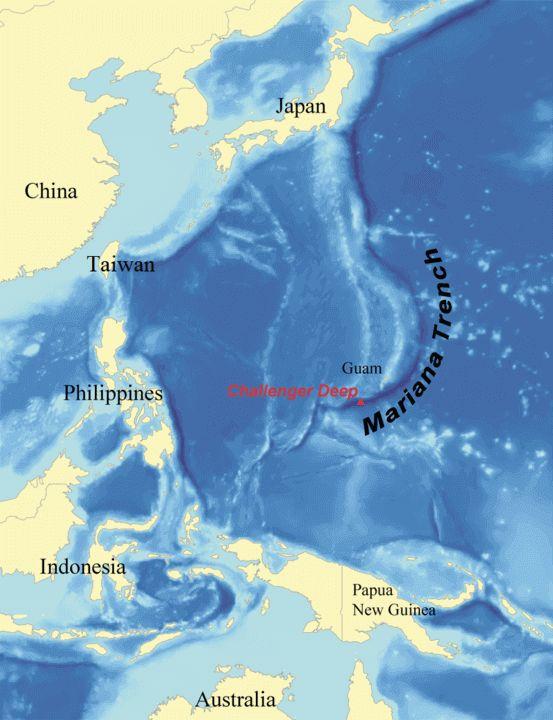 Mapa przedstawiająca położenie Rowu Mariańskiego