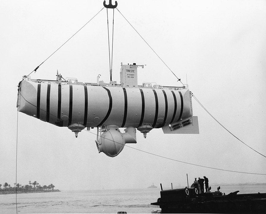 Zdjęcie batyskafu Trieste wykorzystanego do badania Rowu Miariańskiego